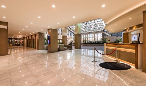 Lobby of hotel with skylights